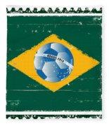 Brazil Flag Like Stamp In Grunge Style Fleece Blanket