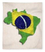 Brazil Map Art With Flag Design Fleece Blanket