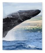 Breaching Humpback Whale Fleece Blanket