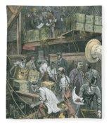 Breaking Bulk On Board A Tea Ship Fleece Blanket