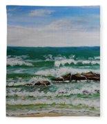 Breaking Waves Fleece Blanket