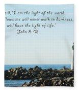 Breakwater Lighthouse Santa Cruz With Verse  Fleece Blanket