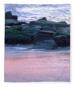 Breakwater Rocks At Sunset Beach Cape May Fleece Blanket