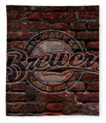 Brewers Baseball Graffiti On Brick  Fleece Blanket
