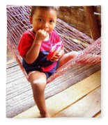 Bribri Indian Child In A Hammock Fleece Blanket