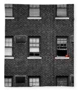 Brick Wall And Windows Fleece Blanket