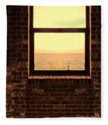 Brick Window Sea View Fleece Blanket