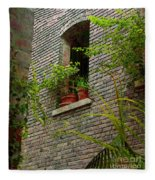 Brick With Greenery Fleece Blanket