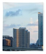 Brickell Key And Miami Skyline Fleece Blanket