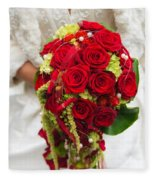 Bridal Bouquet With Red Roses Fleece Blanket