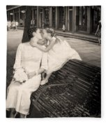 Bride And Daughter Kiss In Jackson Square New Orleans Fleece Blanket