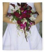 Brides Bouquet And Wedding Dress Fleece Blanket