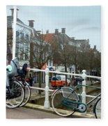 Bridge Across Canal - Amsterdam Fleece Blanket
