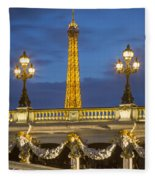 Bridge And Eiffel Fleece Blanket