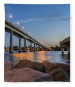 Bridge And Fishing Pier Fleece Blanket