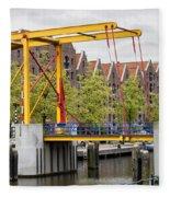 Bridge And Houses On Entrepotdok In Amsterdam Fleece Blanket