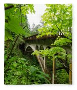 Bridge And Lush Vegetation Fleece Blanket