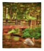 Bridge And Swan Fleece Blanket