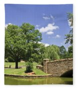 Bridge At A Park In The Summer Fleece Blanket