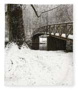 Bridge At Old Mine Park Fleece Blanket