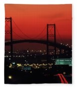 Bridge At Sunset Fleece Blanket