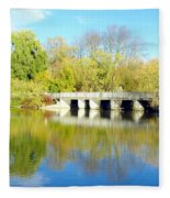 Bridge In A Park Fleece Blanket