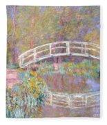 Bridge In Monet's Garden Fleece Blanket