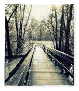Bridge In The Wood Fleece Blanket
