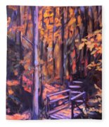 Bridge In Woods Near Pandapas Fleece Blanket