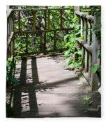 Bridge In Woods Fleece Blanket