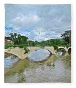 Bridge Of Flowers Scene Fleece Blanket