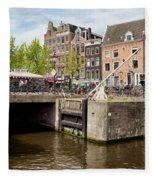 Bridge On Singel Canal In Amsterdam Fleece Blanket
