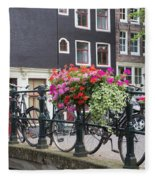 Bridge Over Canal In Amsterdam Fleece Blanket