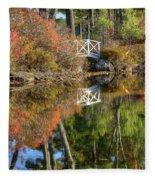 Bridge Over Fall Waters Fleece Blanket
