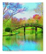 Bridge Over Lake In Spring Fleece Blanket