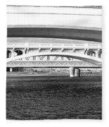Bridge Panorama Black And White Fleece Blanket