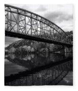 Bridge Reflections In Autumn Fleece Blanket
