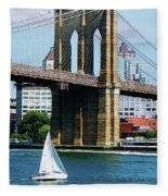 Bridge - Sailboat By The Brooklyn Bridge Fleece Blanket