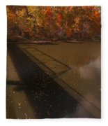 Bridge Shadow In Autumn On The  Duck River Tennessee Fine Art Prints As Gift For The Holidays  Fleece Blanket