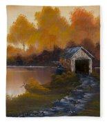 Covered Bridge In Fall Fleece Blanket