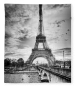 Bridge To The Eiffel Tower Fleece Blanket by John Wadleigh
