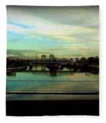 Bridge With White Clouds Fleece Blanket