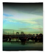 Bridge With White Clouds Vignette Fleece Blanket