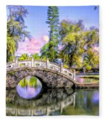 Bridges At Liliuokalani Park Hilo Fleece Blanket
