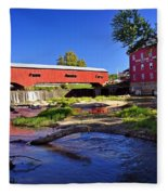 Bridgeton Covered Bridge 4 Fleece Blanket