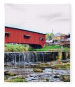 Bridgeton Mill And Covered Bridge Fleece Blanket
