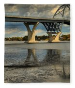 Bridging Vermont And New York Fleece Blanket