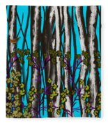 Bright Blue And Birch Fleece Blanket
