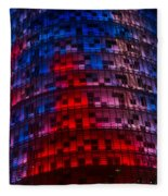 Bright Blue Red And Pink Illumination - Agbar Tower Barcelona Fleece Blanket