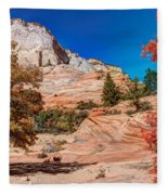 Bright Fall Colors At Zion Fleece Blanket